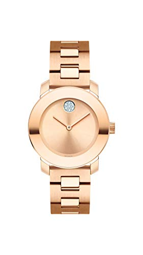 Movado Women's BOLD Iconic Metal Rose Gold Watch with Sunray Dial, Gold/Pink (Model 3600550)