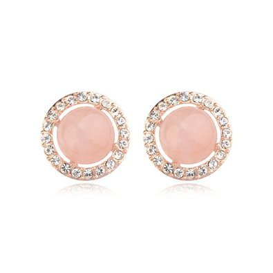 LovEnter 18K Rose Gold Plated Round Pink Opal Earrings Ear Pin