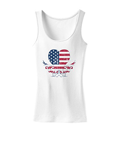 American Flag Decorative Floral Heart Vintage Womens Tank Top - White - 2XL