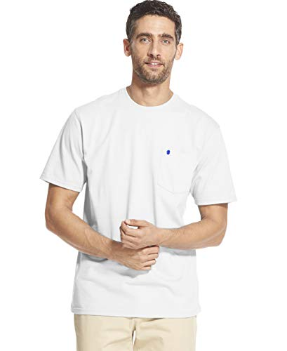 IZOD Men's Saltwater Short Sleeve Solid T-Shirt with Pocket, Bright White, - Short Tee Sleeve Layer Crew