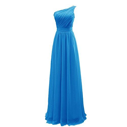 Longues En Mousseline De Soie De Femmes Cuteshe Une Robes De Demoiselle D'honneur Épaule Bleu