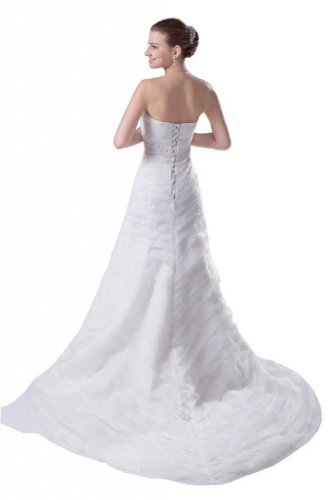 Wedding Organza Dresses A Strapless Train Ivory Court Line Dearta Women's BqFx1wO
