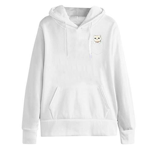 Xinantime Womens Long Sleeve Cute Cat Print Casual Hooded Sweatshirt Pullover Top Blouse Tunic Shirts ()