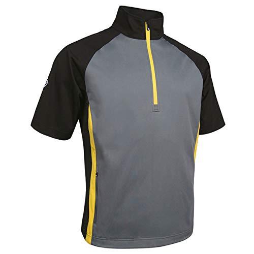 - Sunderland Mens SUNMW38 Half Sleeve Raglan Panelled Zip Neck Showerproof Golf Windshirt Gunmetal/Black/Energy Yellow M