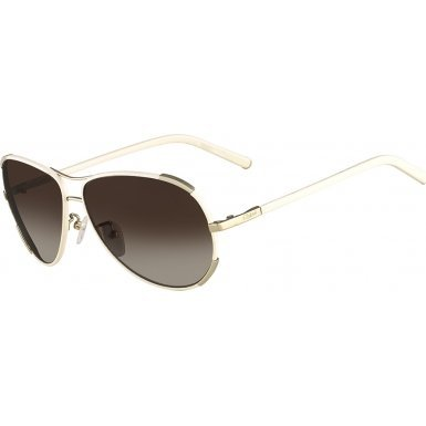 Chloe Women's Nerine Aviator Gold/Cream - Sunglass Chloe
