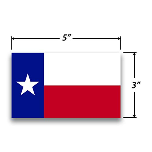2-Pack Texas State Flag Decal Sticker | 5-Inches by 3-Inches | Premium Quality Vinyl | ()