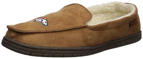 FOCO NFL Denver Broncos Beige Team Logo Moccasin Slippers Shoe, Beige, Large (11-12)