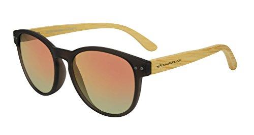 Stingray 51751 Glam Brown/Tan Purple Mirror Polarized Lens Bamboo - Stingray Sunglasses