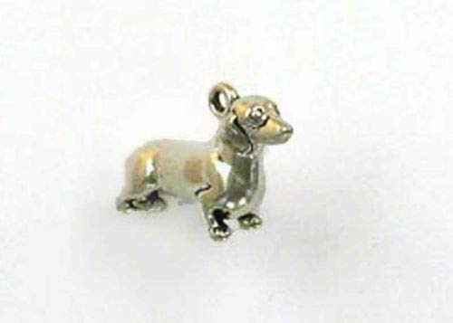 Sterling Silver 3-D Dachshund Charm - Jewelry Accessories Key Chain Bracelet Necklace Pendants ()
