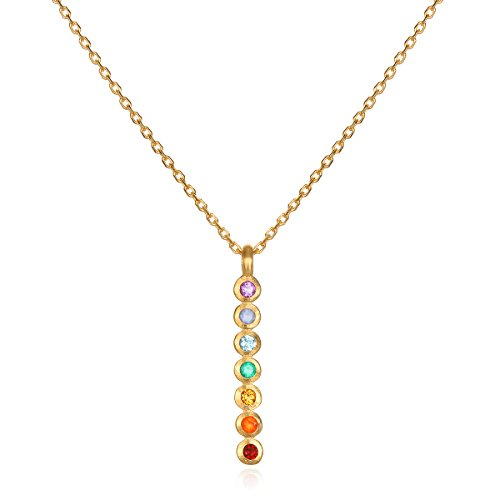 Multi Gemstone Journey Pendant - Satya Jewelry Multi Stone Chakra Stick Pendant Necklace 18-Inch, Multi, One Size