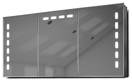 DIAMOND X COLLECTION Delfine LED Bathroom Mirror Cabinet with Demister Pad, Sensor -