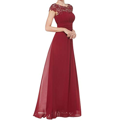 Mnyycxen Women Dresses, Women's Sexy Lace Floral 3/4 Sleeve Solid Wedding Dress Evening Dresses Floor Dress (L, Red-2)