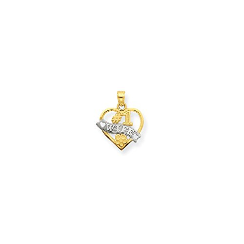 1 Wife Heart Pendant - Solid 10k Yellow and White Gold Two Tone #1 Wife Heart Pendant Charm (16mm x 20mm)