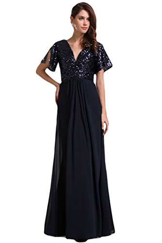 Sunvary 2016 Sequin and Chiffon Floor Length Mother of the Bride Dress Short Sleeves