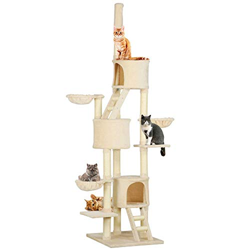 Yaheetech Extra Large Multi-Level Cat Tree Condo with Sisal-Covered Scratching Posts, Baskets and Ladders, Kitty Activity Center Kitten Play House, Adjustable Height 93-103inch