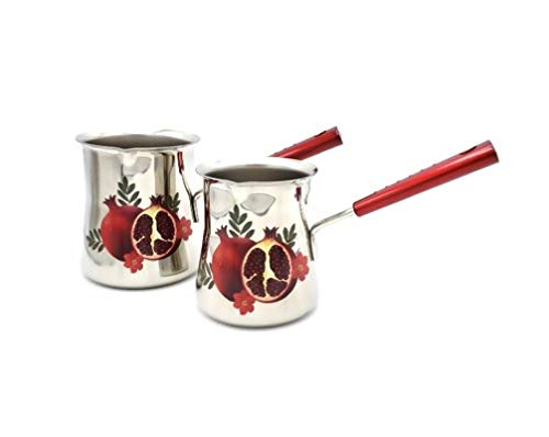 Set of 2 Heavy Duty Stainless Steel Coffee Warmers Heat Resistant Handles Decorated with Pomegranate Decal ()