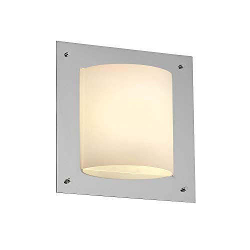 Justice Design Group FSN-5561 - Framed Square 4-Sided Wall Sconce (ADA) - Polished Chrome with Opal Shade