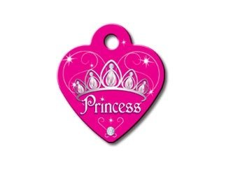 Princess Pet Tag (DIVA Princess Collection Heart Shape Personalized Custom Engraved Pet ID Tags! (Princess, Small))