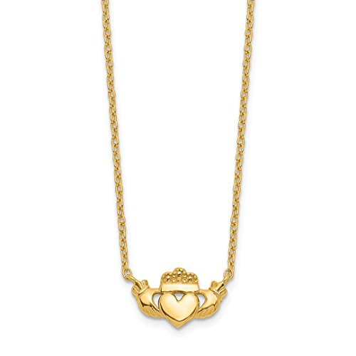 (14k Yellow Gold Irish Claddagh Celtic Knot Chain Necklace Pendant Charm Fancy Celtic/claddaugh Fine Jewelry Gifts For Women For)