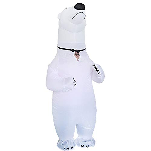 Inflatable Polar Bear Costume Fancy Dress Cosplay Blow Up Full Body Suit Jumpsuit for Adult White for $<!--$38.99-->