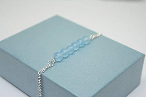 Body Jewellery Boho Festival Anklet Aquamarine Bar Bracelet Aquamarine Jewellery March Birthstone 6mm by Gemswholesale Ankle Jewellery