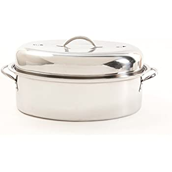 Cuisine Select 64207.02 Top Roast 16-Inch Oval Roaster Pan with Lid and Rack, Stainless Steel, 16 inches