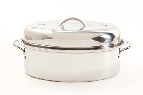Roaster Enamel Pan (Gibson Home 64207.02 Top Roast 16-Inch Oval Roaster Pan with Lid and Rack, Stainless Steel)