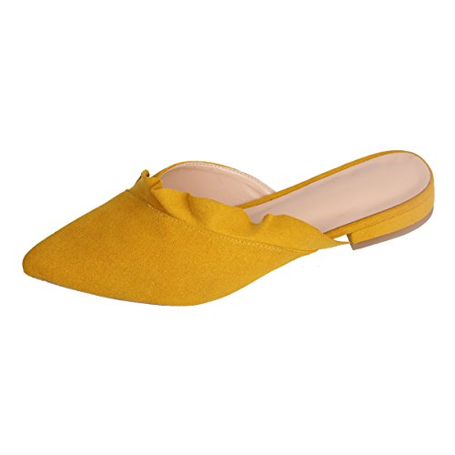 Slip Backless Ruffle Slides Women for Mules Trimmed Flats Women's Slippers Loafer Maguidern Yellow On Sandals w4HvqRXnx