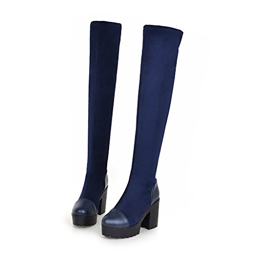 Elegant Boots Knee High Over Square Blue Womens The AIWEIYi Heel 8Swq5nx1