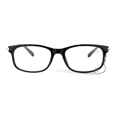 Womens Designer Fashion Sexy Narrow Rectangular Plastic Clear Lens Eye Glasses - Bridge Glasses Narrow