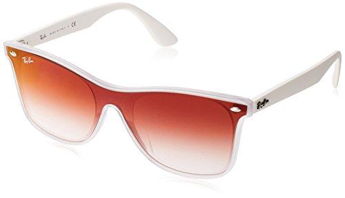 Ray-Ban RB4440NF Blaze Wayfarer Sunglasses, Matte Transparent/Red Gradient Mirror, 44 mm (Ray Ban Aviator Red Mirror)