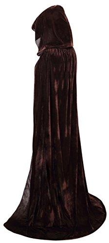 VGLOOK Full Length Hooded Cloak Long Velvet Cape for Christmas Halloween Cosplay Costumes 59inch Brown -