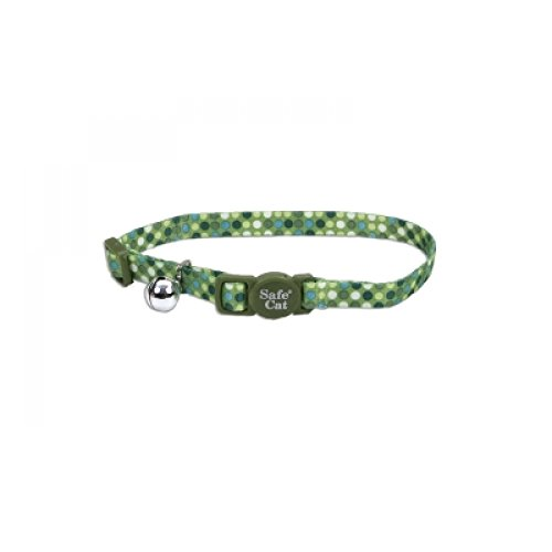 Safe Cat Breakaway Collar Green Dots