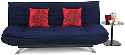 Forzza Vernon Three Seater Sofa cum Bed (Dark Blue)