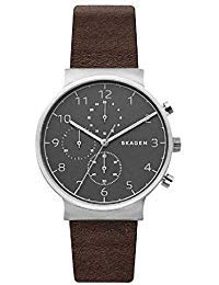 SKAGEN SKW6409 Men's Ancher Chronograph Leather Strap Watch, 40mm