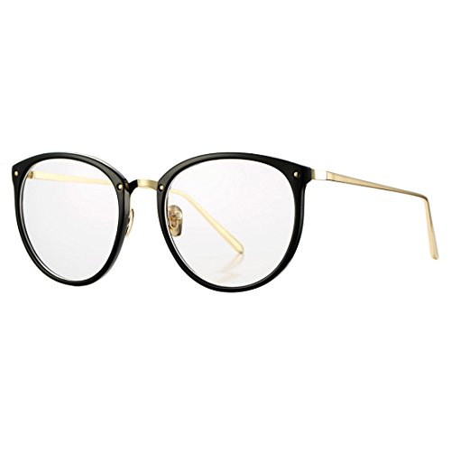 Vintage Round Optical Glasses Frame Hipster Non-prescription Retro Oval Eyewear with Clear Lens for Women (Bright - Frames Black Hipster