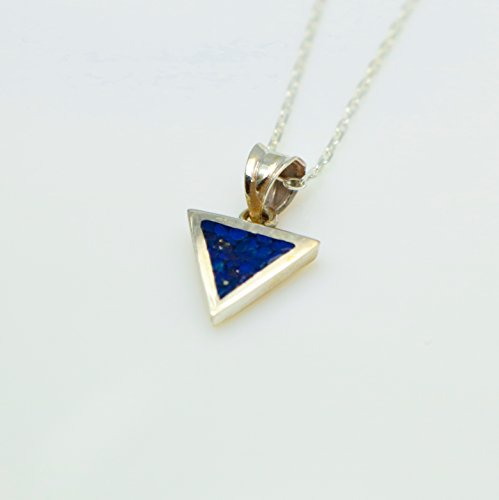 Necklace Mosaic Pendant - Triangle Lapis Lazuli Gemstone Mosaic Sterling Silver Necklace 16.1'' to 17.7 inches, Adjustable Chain, Semi Precious Stone
