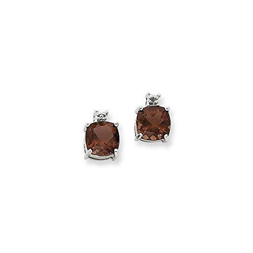 (0.01cttw) Smoky Quartz and Diamond Post Earrings (10mm x 5mm) ()