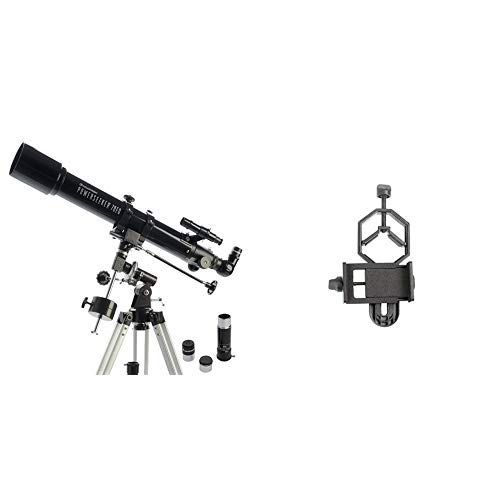 Celestron PowerSeeker 70EQ Telescope with Basic Smartphone Adapter 1.25'' Capture Your Discoveries by Celestron