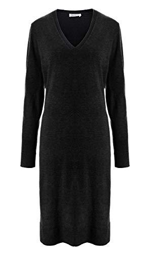 (LilySilk Black Silk Cashmere Knit Sweater Dress V Neck Long Soft Sexy Casual Long Sleeve Medium)