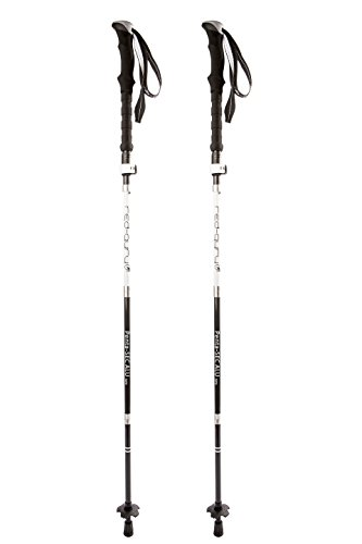 Red Guru Collapsible Telescopic Trekking Poles All Terrain Outdoor Trail Hiking/Walking Sticks | Height Adjustable for Men and Women | Sweat Absorbing EVA Grips | 1 Pair Black