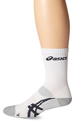 ASICS Resolution Crew Socks, White/Frost, Medium