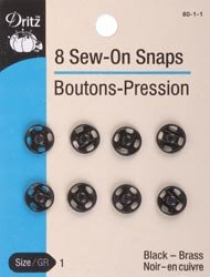Bulk Buy: Dritz Black Sew On Snaps Size 1 8/Pkg 80-1-1 (3-Pack)