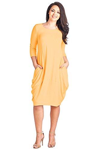 12 Ami Plus Size Solid 3/4 Sleeve Bubble Hem Pocket Midi Dress Yellow XXL (Pocket Bubble)