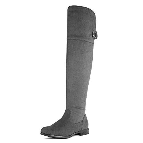 - DREAM PAIRS Women's HI_Flat Grey Over The Knee Stretchy Thigh High Boots Size 8 B(M) US