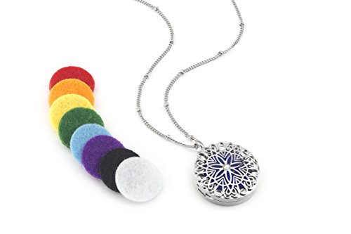 Flower Burst Essential Oil Aromatherapy Diffuser Necklace (Silver) - Hypoallergenic 316L Surgical Grade Stainless Steel, 21
