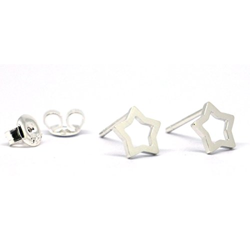Wellmade Solid Sterling Silver Mat Finish Stud Earrings (Cutout Star)