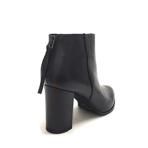 Tacco Nero Zip Shoe Italy Gar Con E Neri Tronchetti Vera In Made Pelle Largo xFIUqO