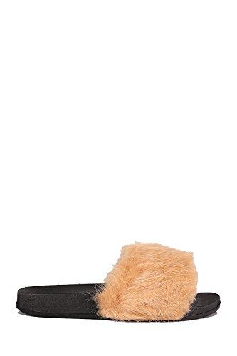 Cape Robin Cherrymad Moira-5 Mujeres Flip Flop Deslizamiento De Piel Con Cordones Pisos Sandalias Zapato Zapatillas Furry Beige