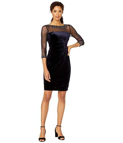 Tahari ASL Women's Stretch Velvet Side Ruched Beaded Illusion Neckline Dress, Navy, 8